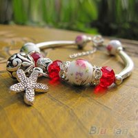 Wholesale Women s Vintage Ethnic Ceramics Silver Plated Handmade Chain Bangle Bracelet