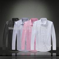 cotton polyester shirts - Men s Shirt Top Quality dress leisure Men Clothing Cotton long sleeved shirt crocodile mens dress shirts camisas