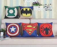 Wholesale Euphoria Brand Cushion Cover Pillow Shell Cotton Linen Blend Superheroes Logo Superman Spider man Hulk Batman Combo Set cm c