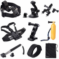 Wholesale 11 Accessories Set Straps Monopod Floating Bag for Gopro Hero Chest Body Strap Bicycle Handlebar Seatpost Clamp