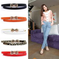 Wholesale 2014 New Korean Stylish Women s PU Leather Thin Skinny cm Bow Waist Casual Belt Waistband Strap