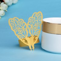 Cheap Party Decoration Wedding Favors 8.3*2.9 inch Butterfly Design 60pcs Gold Color Paper Napkin Rings