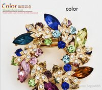 Asian & East Indian Women's Gift Fashion Clear Crystal Rhinestone Gold Plated Chinese Redbud Flower Brooch Pin Jewelry Women Brooches for Scarf Y60*MPJ080#M5