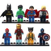 Wholesale Super Heroes Avengers Superman Ironman Spider man Batman X man American Captain Building Blocks Sets Minifigure DIY Bricks Toys with box