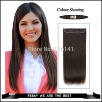Wholesale 24 quot cm g straight clip in hair extensions no shiny synthetic fiber color light brown