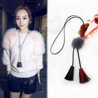 ball and chain leather necklace - Factory South Korea imported jewelry Li Xiaolu with Fur Ball Necklace tassel sweater chain necklace and all match import Valentine