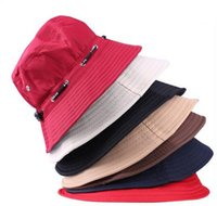 Wholesale Sun Hat Spring Summer Men and Women Fashion Outdoor Climbing Fishing Hat Bucket Hat Foldable Rope Round Cap Sun Hat DHL Free