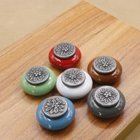 Wholesale Antique silver zinc alloy handle single hole round ceramic drawer handle small box