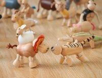 Nouvelle livraison gratuite de Maple Wood Moveable animaux jouet Farm Animal en bois Zoo bébé jouets éducatifs 6-12cm