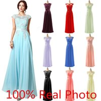 Wholesale 2016 New Arrival In Stock Special Occasion Dresses Lace Chiffon Beaded Sheer Neck Cap Sleeve Prom Party Pageant Dresses Cheap Gown