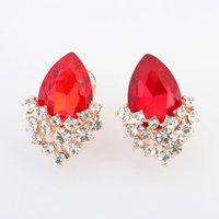 Wholesale 2015 New Arrival Jewelry Charms Earrings Fashion Charming Alloy Glass Diamond Decorative Mosaic Crystal Teardrop shaped Geometric Earrings