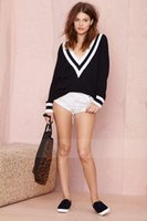 Wholesale Black and white rib splice deep v neck sweater navy wind sleeve turtleneck sweater knit
