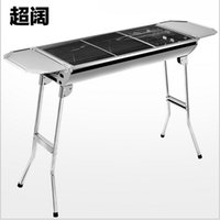 Wholesale 2015 AAA quality Outdoor Alumina fold stainless steel wild stove portable grill large thick charcoal barbecue pits Burn oven TOPB1713