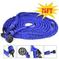 plastic water nozzle - 75FT Expandable Flexible hose Blue Water Garden Pipe Waterpipe Plastic Hose With Spray Nozzle For Car Wash Pet Bath
