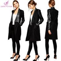 Wholesale Fashion charm Star Style pu Splice Woolen Cashmere Fabrics Women Slim Coat Black Long Trench Coat Overcoat Woman Clothes Abrigos