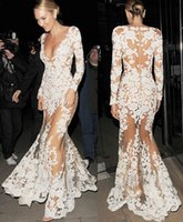 Wholesale 2015 Trend White New Wedding Evening dresses Mesh Lace Long Sleeve V Neck Formal Bridal Gowns Dress