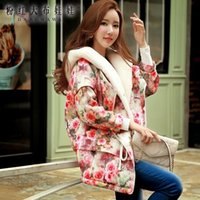 Wholesale Dabuwawa Women s Sweet Elegant Colorful Flowers Printed loose Long Cotton padding Jacket With Hat