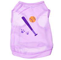 baseball dog toy - Brand New Pet Dogs Purple Baseball Printting Toy Costumes Clothes Apparel T Shirt Vest