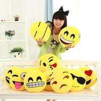 Wholesale 10pcs Styles Diameter cm Cushion Cute Lovely Emoji Smiley Pillows Cartoon Cushion Pillows Yellow Round Pillow Stuffed Plush Toy