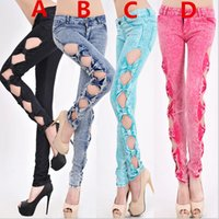 pants - 2015 Women and Big Girls Sexy Casual Springy Denim Bow Pant Trousers Sexy Hollow Out Fashion Jeans Pants B
