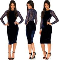 americas line - 2015 Spring Autumn Europe Americas Fashion O neck Long Sleeve Knee Length Runway Dress Slim Work Office Lace Dresses Casual Pencil Dress
