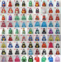 Wholesale 81 styles Double Side Superhero Capes mask set The Avenger Ninja Star Wars cape mask set Superman Frozen Cinderella for Kids CM