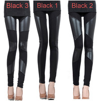 Polyester leather pants leggings - Autumn and Winter Sexy Slim Stitching PU Leather Leggings for Women Splicing splice Wide Stretchy Elastic Waist Trousers Pants G0653