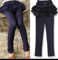 Caliente de las ventas de Primavera, de otoño de ropa de niños niñas Jean Culottes legging pastel de faldas tutu hijos largo del dril de algodón pantalones de bebé pantskirt