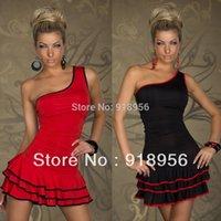 name brand evening dress - 2014 Women Party Dress Brand Name Black Red One Shoulder Dress Ruffle Mini Evening Clubwear Sexy Womens Dresses C5510