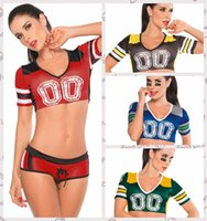 achat en gros de costume cheerleader-Cheerleader Sexy Costumes Cosplay sport à manches courtes femmes Uniforme Dame Femmes Mode Fantaisie Costume de football pour les femmes E8891
