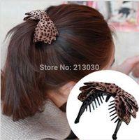 banana clip art - New Arrival Hot Sale Leopard grain cloth art bowknot hairpin Banana Hair Clips for girls Fashion temperament