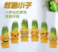 Wholesale Retail Gift Face Expression Hair Man Plant Bonsai Grass Doll Office Mini Plant Fantastic FASHION223