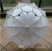 Wholesale 50pcs CCA1993 New Cotton Vintage Battenburg Handmade Embroidered Art Lace Parasol Sun Umbrella Wedding Bridal Party Decoration