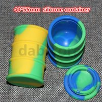 Wholesale Nonstick silicone oil barrel container jars dab wax vaporizer oil rubber drum shape containers large food grade silicon dry herb tool