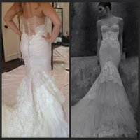 Wholesale 2015 Vintage inbal dror Mermaid Bridal Gowns Sweetheart church wedding Long length Sweep Train tulle Lace vintage Wedding Dresses