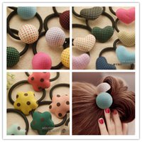asian idea - Paired new winter spring flower Korea idea love button hair bands hair rope hair accessories