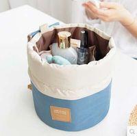 accessories cosmetic bags - 10pcs Travel Barrel Shaped Cosmetic Bag Nylon High Capacity Drawstring Elegant Drum Wash Bags Makeup Organizer Storage Bag
