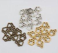 antique prints sale - Hot Sales Antique Silver Antique bronze Ancient Gold Hollow Paw Print Charms Pendant mm DIY Jewelry