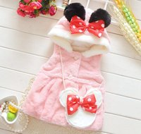 Wholesale baby girls winter fall coat girl fleece fur coats for kids pink waistcoat children cartoon outwear with minnie mouse bag infant bow clothing