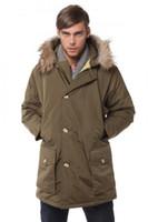 Wholesale Wool rich Man s down jackets Arctic Anorak men winter parkas with fur hood De mannen dragen