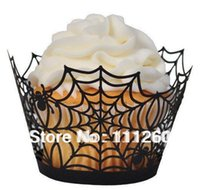 Wholesale Halloween Laser cut Fancy Cupcake Wrappers Party Cupcake Collars each color LPH0030