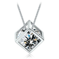Wholesale 925 sterling silver items crystal jewelry square cube diamond pendant statement necklaces wedding vintage woman fashion