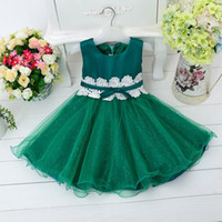 Wholesale 2015 girls lace tutu dress baby ruffle flower sequin dress princess kids party wear pageant dresses toddler bowknot gowns girl wedding dress