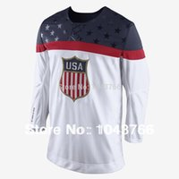 Cheap Newest 2014 Sochi Olympic Team USA Hockey Jersey White Ice Hockey Stitched American Team USA Olympic Hockey Jersey
