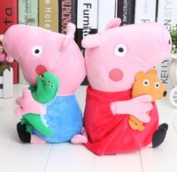 Wholesale 2pcs peppa pig george pig pink cartoon stuffed plush large size cute kids toddler toys