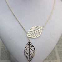 Wholesale Jewelry Women Double Leaf Necklace Fashion Leaf Pendant Necklaces