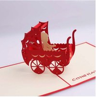 baby carriage invitations - 3D Laser Cut Stereoscopic Baby Carriages Shower Birthday Handmade Greeting Invitations Favors Card Business