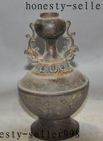 beast warrior - 8 quot Old Chinese pure purple copper warrior Hunting beast bird Bottle Pot Vase Jar