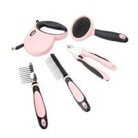 Wholesale luxury five pieces a set dog grooming kit including finger cut steel wire brush dog lead dog comb pink blue color