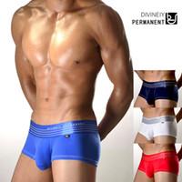 Wholesale DIVINEIY PERMANENT Men s Underwear Brifes Boxers Flat Smoth Wide Waist Belt Cotton Bamboo Bottoms Under Pants Sexy Hot